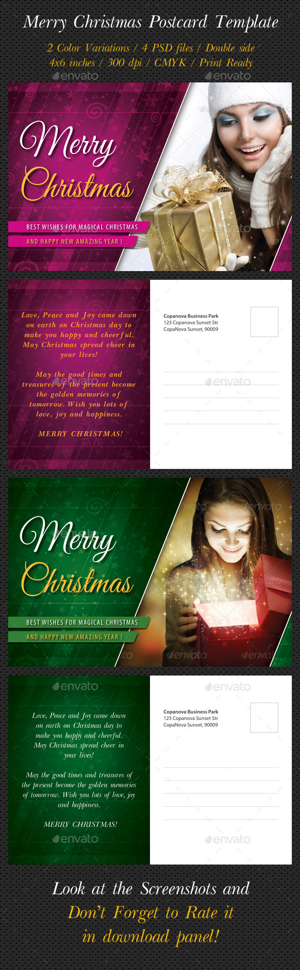 GraphicRiver Merry Christmas Postcard Template 8884198