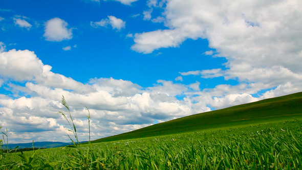 Hill With Grass Under Cloudy Sky