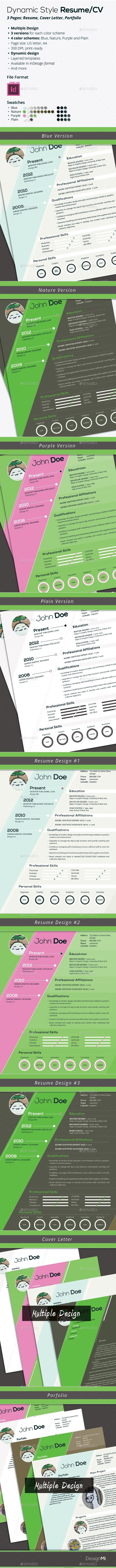 GraphicRiver Dynamic Style Resume CV Multi Color and Design 8885420