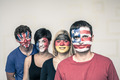Happy people with flags on faces - PhotoDune Item for Sale