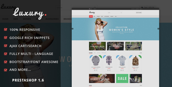 ThemeForest LuxuryShop Prestashop Theme 8885453