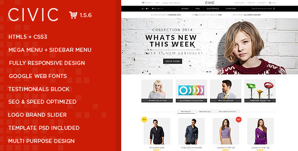 ThemeForest Civic Premium Responsive OpenCart Theme 8885460