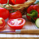 tomatoes and peppers on a wooden table - PhotoDune Item for Sale