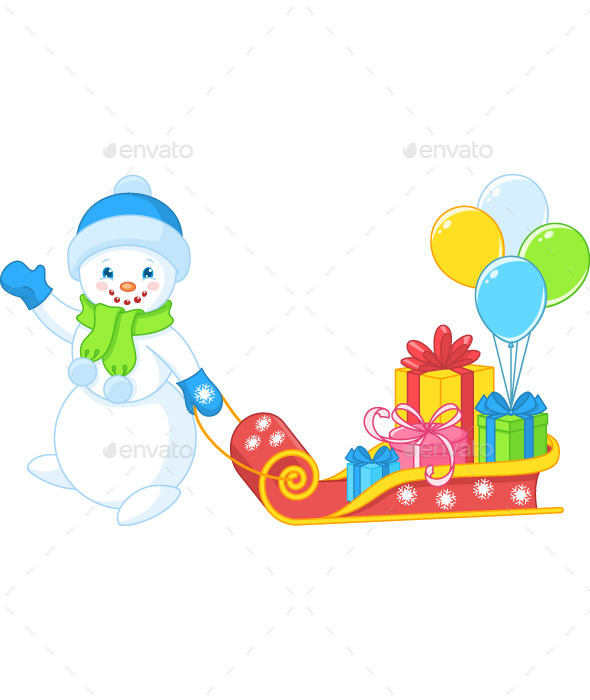 GraphicRiver Snowman Carries Gifts 8885889