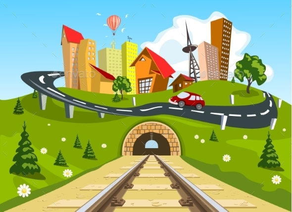 GraphicRiver Railroad Tracks Through Landscape to the City 8886011