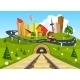 Railroad Tracks Through Landscape to the City - GraphicRiver Item for Sale