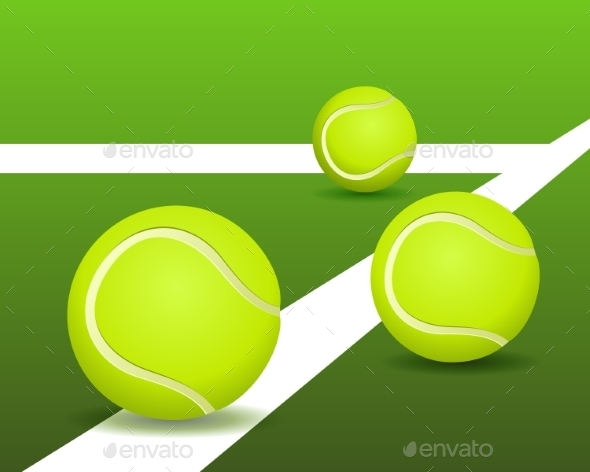 GraphicRiver Tennis Balls on the Court 8886013