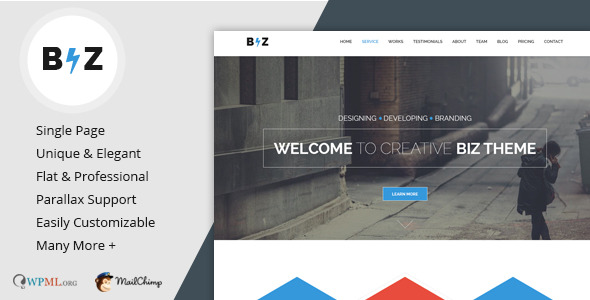 Biz One Page HTML Resume Template