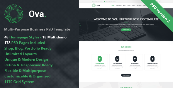 Ova – Multi-purpose Business PSD Template - Business Corporate