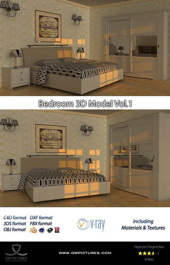 3DOcean Bedroom 3D Model 8886087