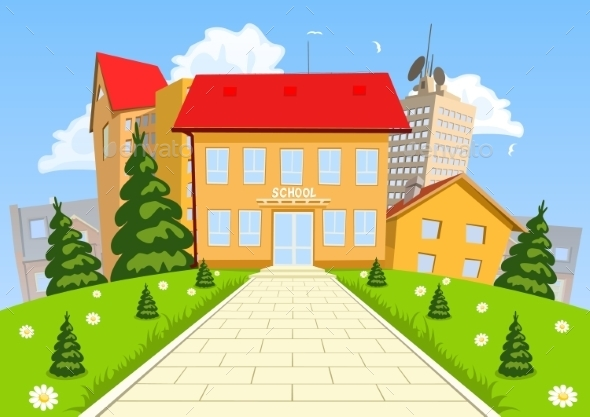 GraphicRiver Vector Cartoon Modern School Building 8886107