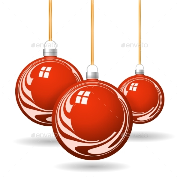 GraphicRiver Red Christmas Balls with Gold Ribbon and Bows 8886122