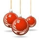 Red Christmas Balls with Gold Ribbon and Bows - GraphicRiver Item for Sale