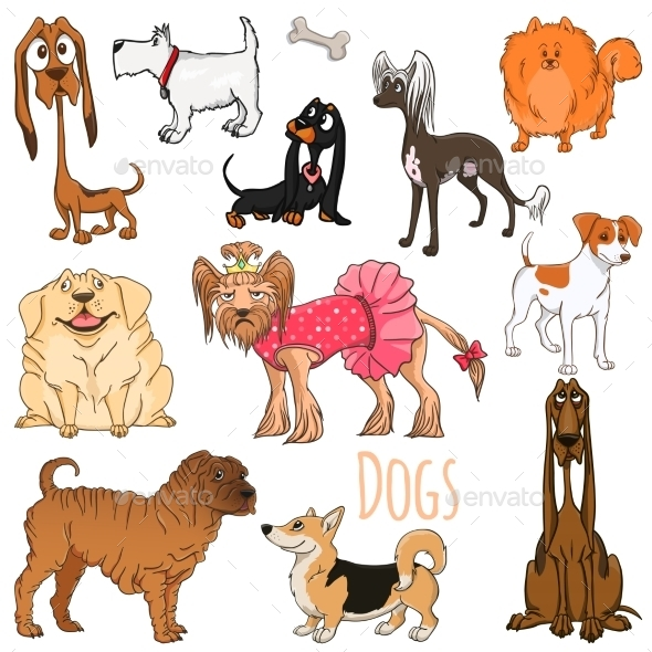 GraphicRiver Vector Set of Funny Cartoon Dogs.Vector Illustration 8886321