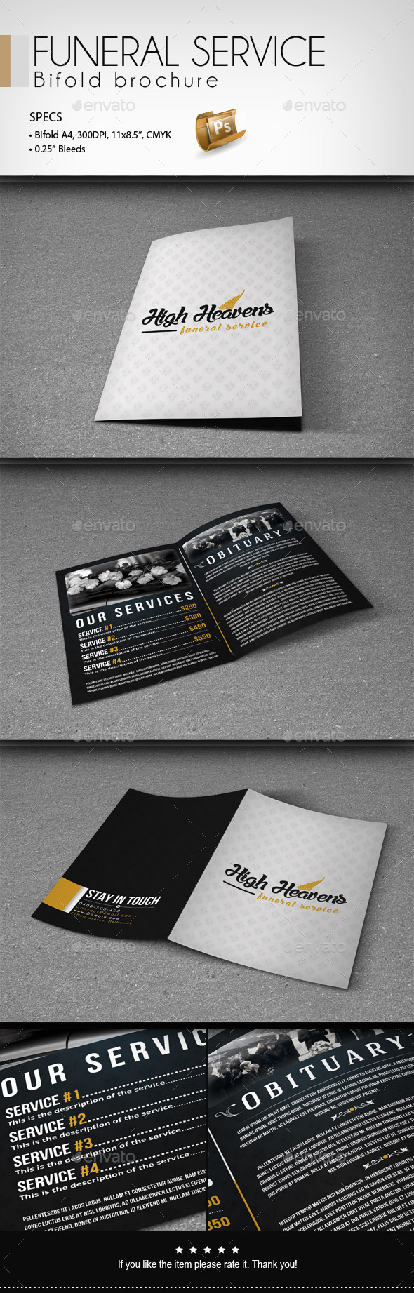 GraphicRiver Funeral Service Bifold Brochure 8887121