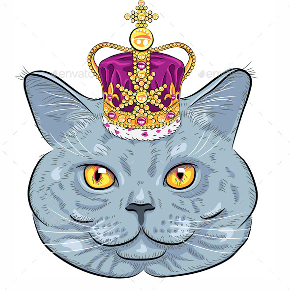 GraphicRiver British Cat in Gold Crown 8887517