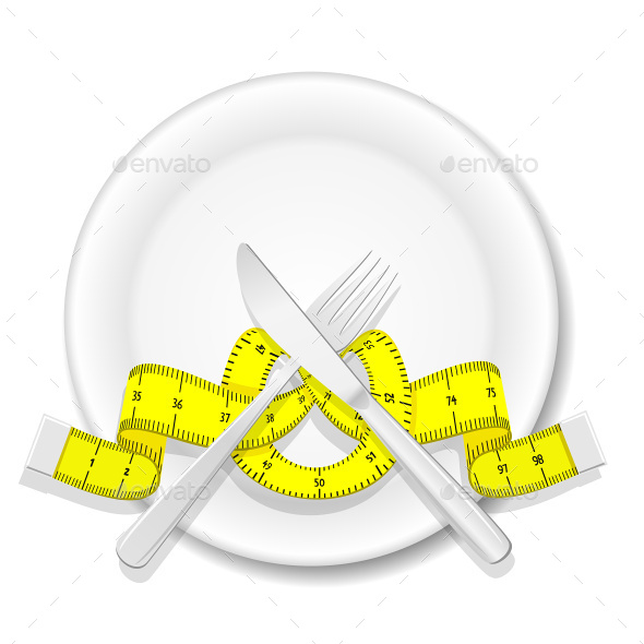 GraphicRiver Plate with Knife Fork and Measure Tape 7612627