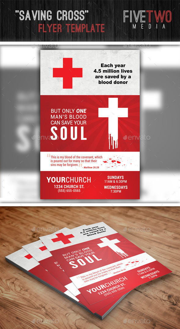 GraphicRiver Saving Cross Church Christian Flyer 8887782
