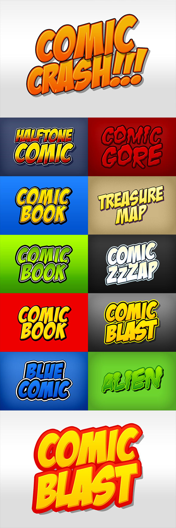 GraphicRiver Comic Book and Cartoon Photoshop Styles Pack 8888373