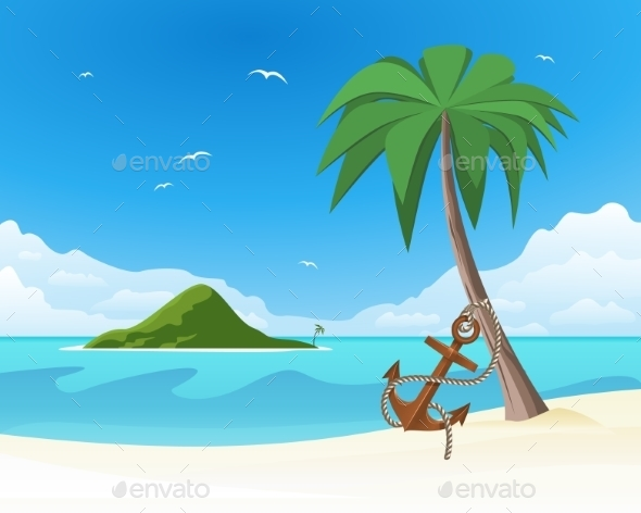 GraphicRiver Anchor Leaning against the Palm on Tropical White 8888637