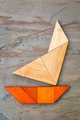 abstract yacht from tangram puzzle - PhotoDune Item for Sale