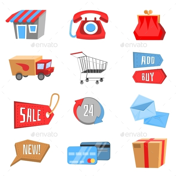 GraphicRiver Vector Set of Flat and Colorful Shopping Icons 8888749
