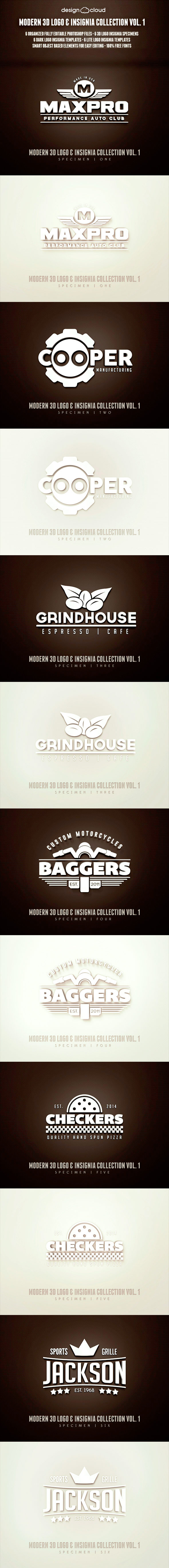 GraphicRiver Modern 3D Logo Insignia & Badge Templates Vol 1 8884413