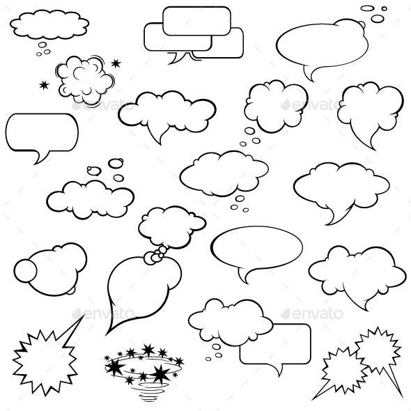 Comic strip templates with bubbles for Comic strip bubble template