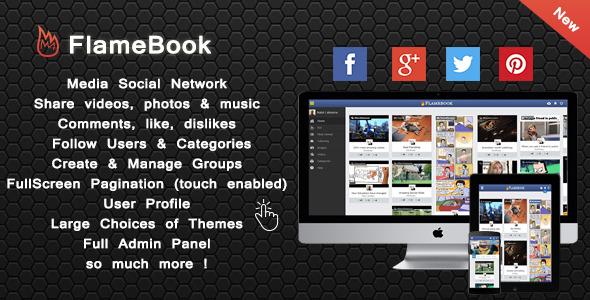 CodeCanyon Flamebook Sharing Media Social Network 8889016