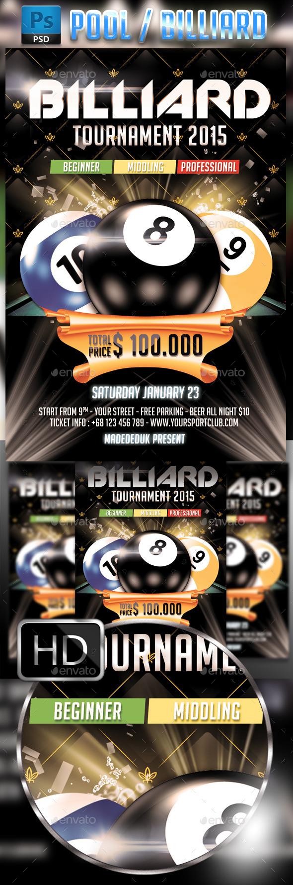 GraphicRiver Billiard Pool Flyer Template 8889136