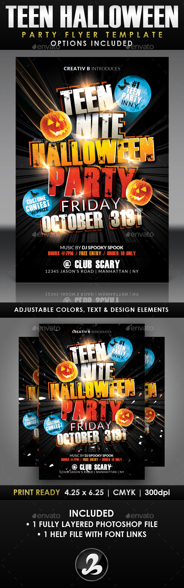 GraphicRiver Teen Night Halloween Party Flyer Template 8889428