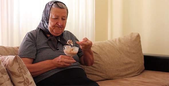 Grandmother Eating Ice Cream