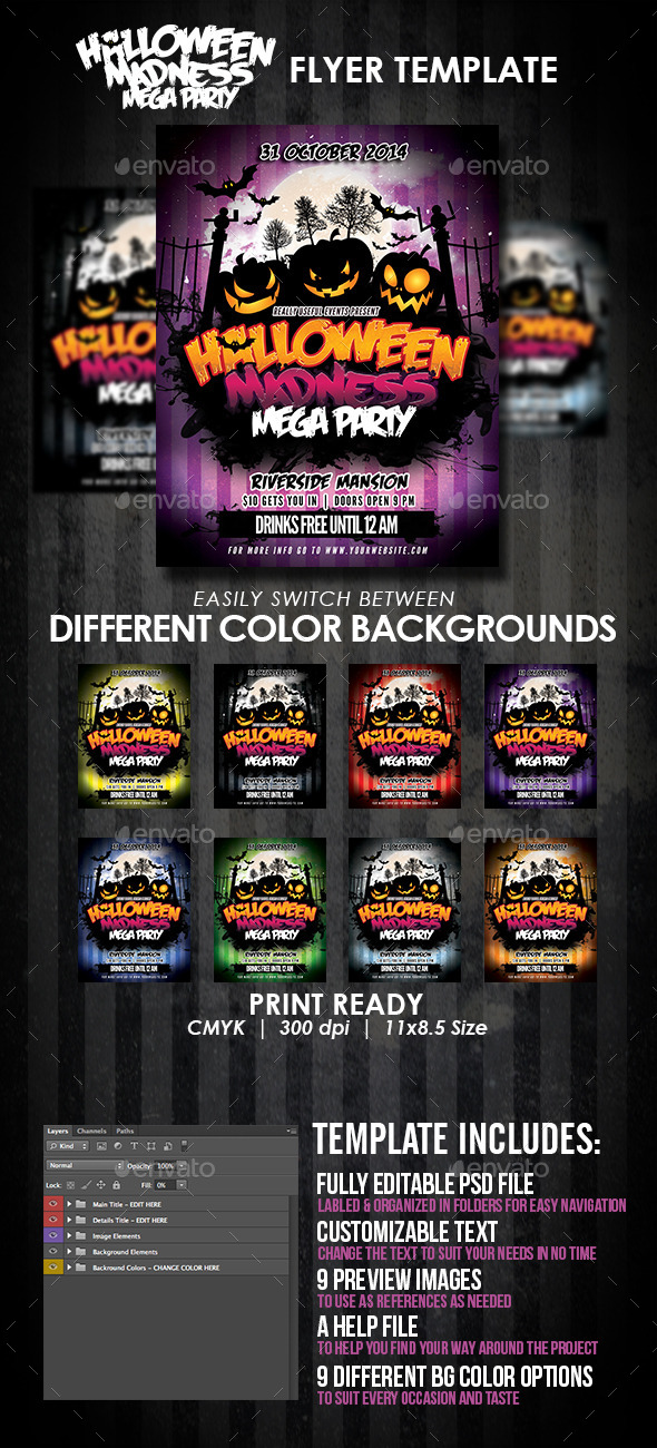 GraphicRiver Halloween Madness Mega Party Flyer Template 8889632