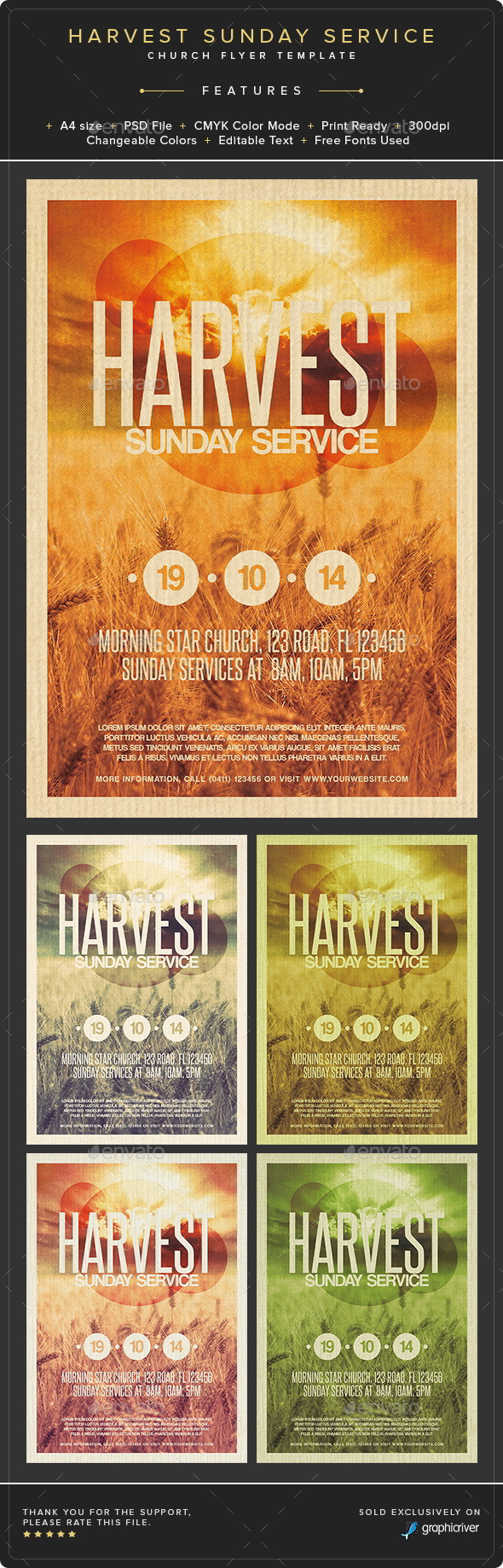 GraphicRiver Harvest Sunday Service Flyer Template 8889647