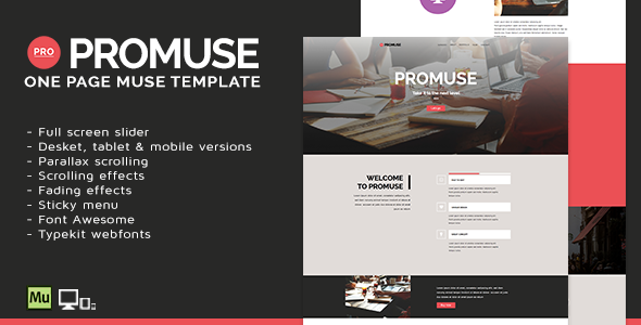 ThemeForest Promuse One Page Muse Template 8857966