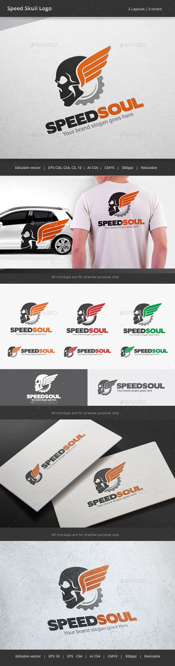 GraphicRiver Speed Skull Logo 8890812