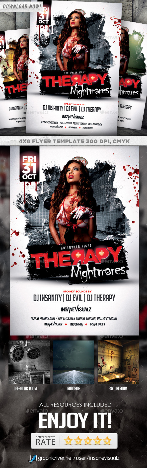 GraphicRiver Therapy Nightmares Halloween Flyer 8891119