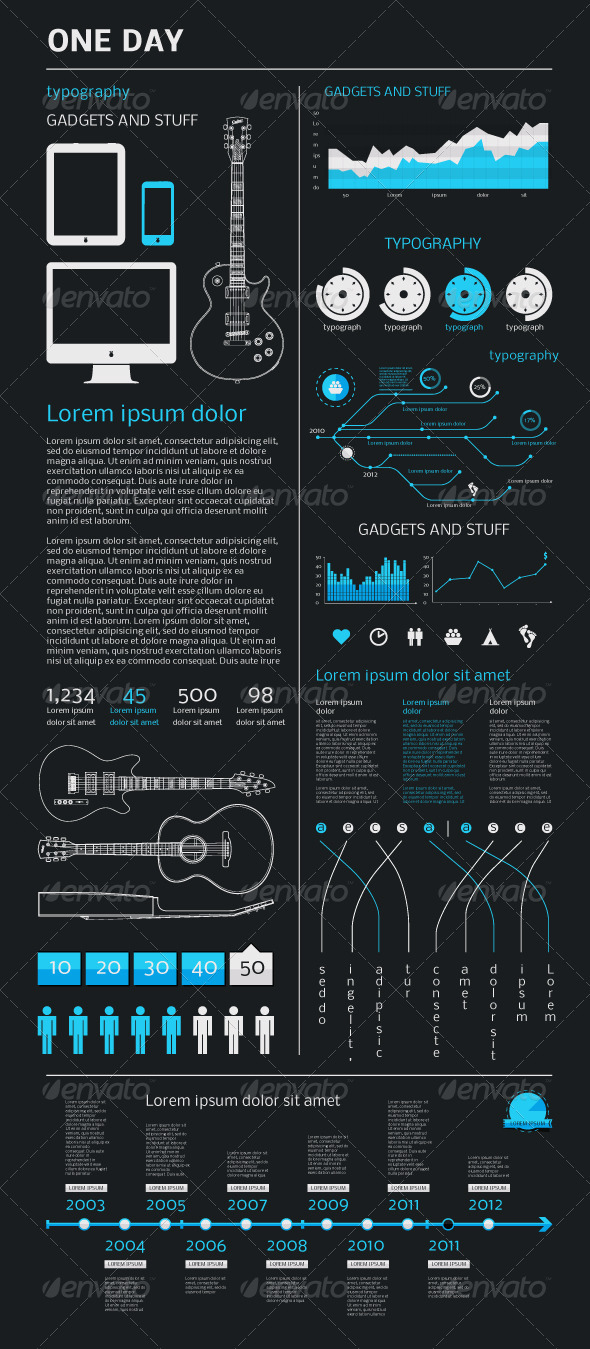 GraphicRiver Elements of Infographics with an Electric Guitar 907007