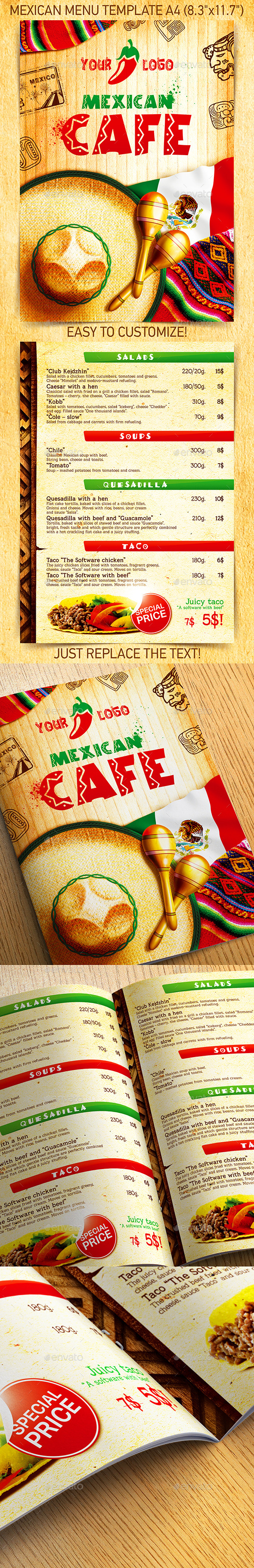 Mexican Menu Template vol.2 - Food Menus Print Templates