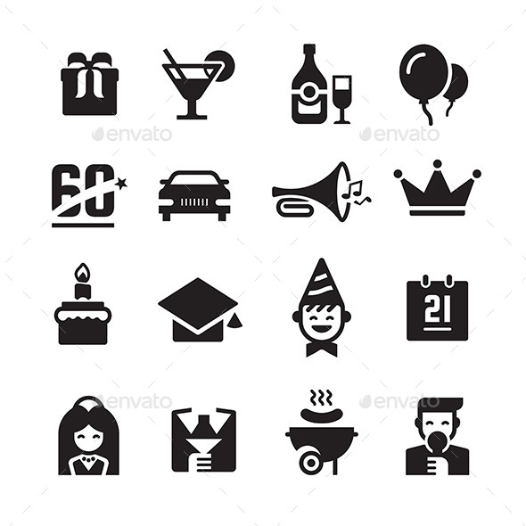 GraphicRiver Party and Celebration Icons 8885245