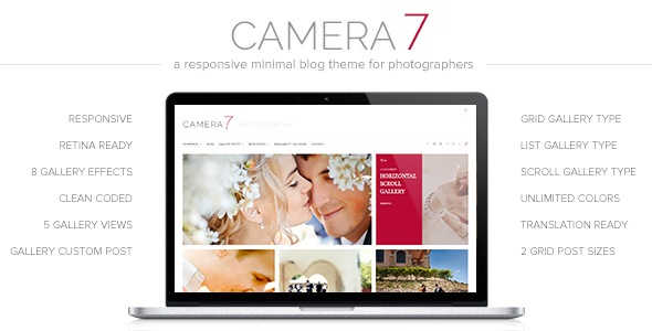 Camera 7 - Minimal Photography WordPress Theme - Photography Creative