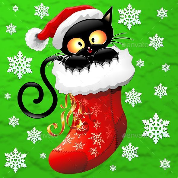 GraphicRiver Cat Cartoon on Christmas Stocking 8892252