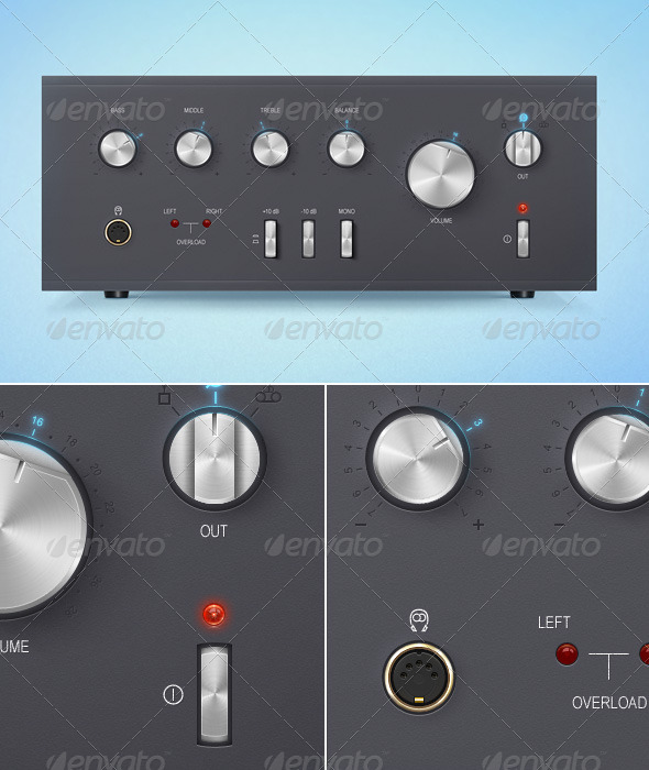 Stylized Soviet Amplifier Interface. - Miscellaneous Graphics
