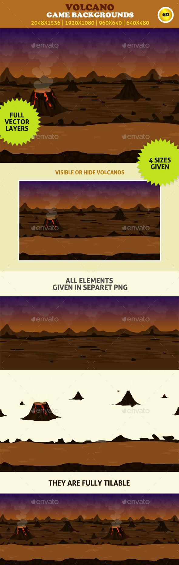 GraphicRiver Game Backgrounds Volcano 8892332
