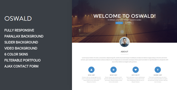 Oswald - One Page Parallax Template - Portfolio Creative