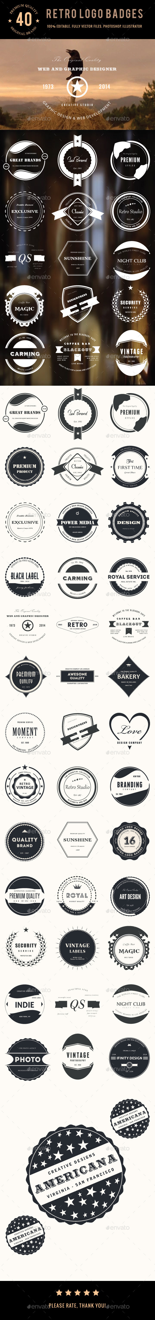 GraphicRiver Bundle 40 Retro Logo Badges 8888841