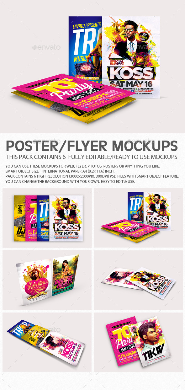 GraphicRiver Flyer Poster Mockups V4 8892465