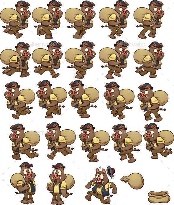 GraphicRiver Wild Boar Sprites 8892515
