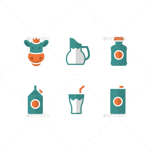GraphicRiver Set Flat Icons of Milk 8893014