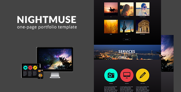 Nightmuse - One Page Portfolio Muse Template